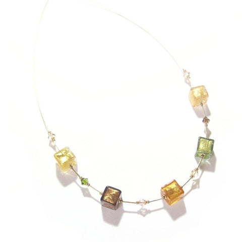 Murano Glass Fall Colors Cube Gold Necklace by JKC Murano