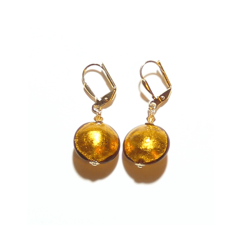 Murano Glass Disc Topaz Gold Earrings
