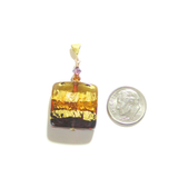 Murano Glass Amber Amethyst Square Pendant Necklace, Venetian Glass Jewelry - JKC Murano