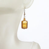 Murano Glass Topaz Rectangle Gold Earrings, Leverback Earrings JKC Murano