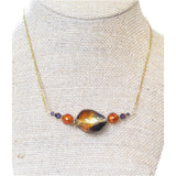 Murano Glass Amber Plum Nugget Gold Necklace, Gold Filled Chain JKC Murano