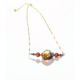 Murano Glass Amber Plum Nugget Gold Necklace, Gold Filled Chain - JKC Murano
