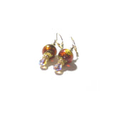 Murano Glass Dark Topaz Ball Crystal Drop Gold Earrings JKC Murano