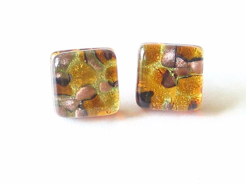 Murano Chunky Square Topaz Sterling Silver Post Earrings, Studs - JKC Murano - 1