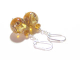 Murano Glass Amber Ball Sterling Silver Earrings JKC Murano