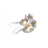 Murano Glass Chunky Topaz Swirl Sterling Silver Earrings JKC Murano