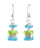 Murano Glass Aqua and Lime Green Cube Sterling Silver Earrings JKC Murano