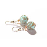 Venetian Glass Turquoise Copper Gold Earrings, Gold Filled Leverback Earrings JKC Murano