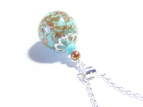 Murano Glass Turquoise Copper Ball Sterling Silver Pendant JKC Murano