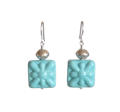 Venetian Glass Turquoise Starburst Chunky Square Silver Earrings, Murano Glass Jewelry JKC Murano