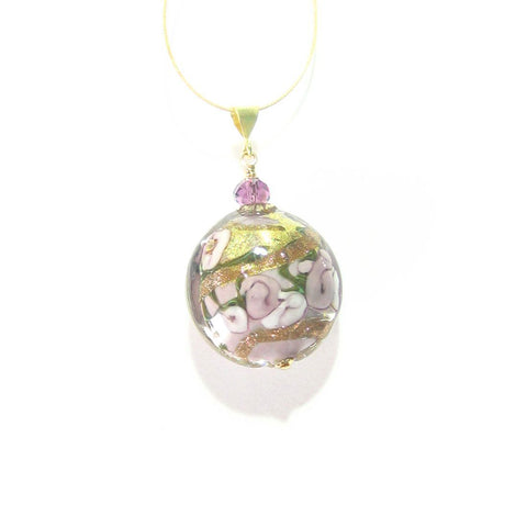 Murano Glass Pale Purple Rose Disc Pendant, Italian Glass Jewelry