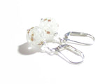 Murano Glass White Copper Ball Silver Earrings JKC Murano