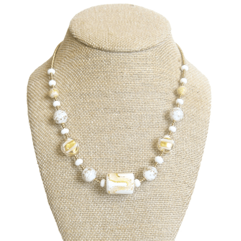 Murano Glass White Yellow Gold Necklace - JKC Murano