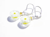 Murano Glass White Daisy Millefiori Coin Silver Earrings JKC Murano