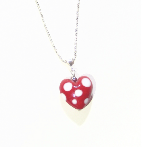 Murano Glass Red Polka Dot Heart Pendant - JKC Murano