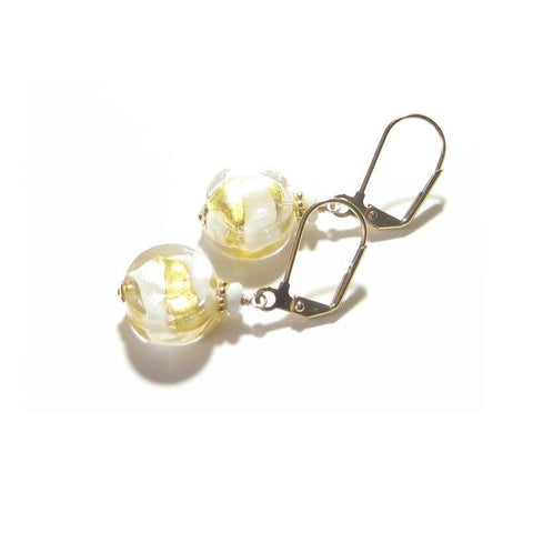 Murano Glass White Swirl Yellow Gold Earrings