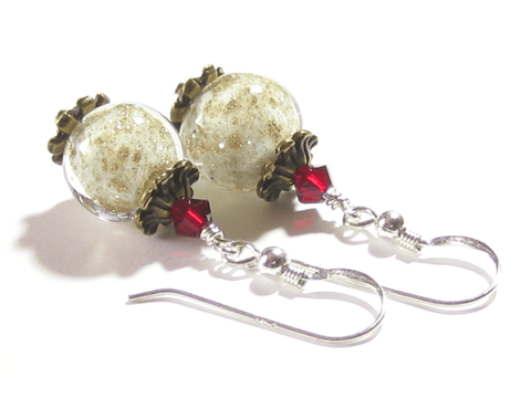 Murano Glass White Copper Ball Red Silver Earrings JKC Murano