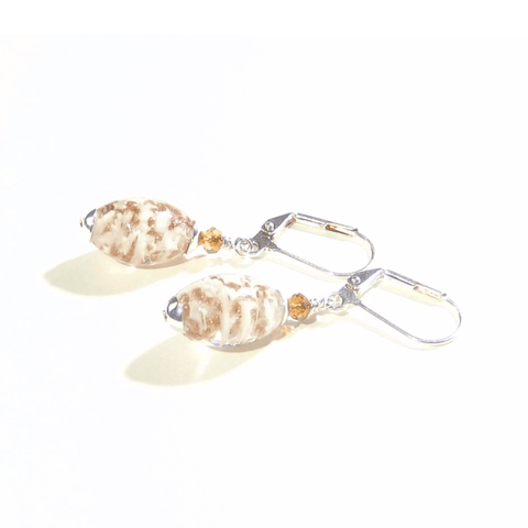 Murano Glass White Copper Oval Silver Earrings - JKC Murano