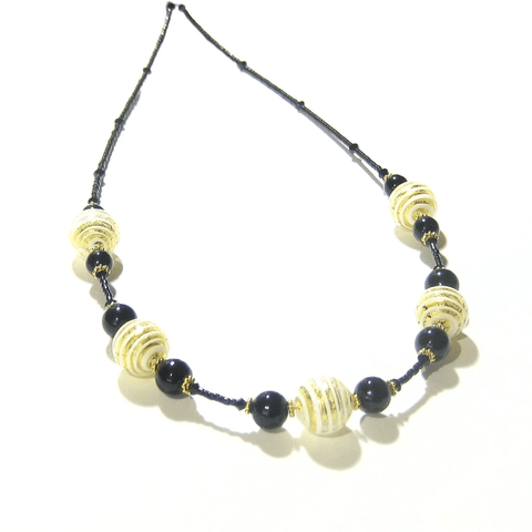 Murano Glass Black White Stripes Ball Gold Necklace