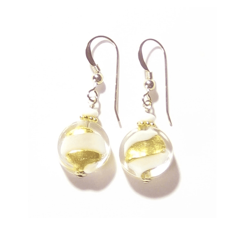 Murano Glass White Swirl Yellow Gold Earrings by JKC Murano - JKC Murano