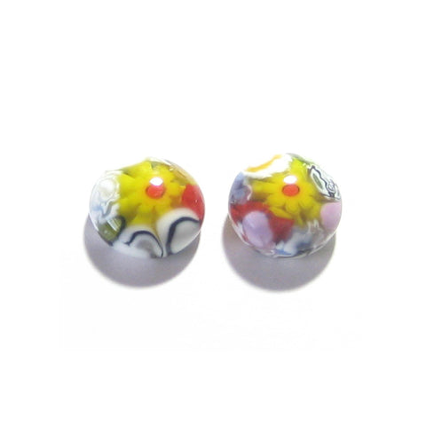 Murano Millefiori Colorful Yellow Daisy Post Earrings, Stud Earrings JKC Murano
