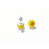 Millefiori Yellow Small Sterling Silver Post Earrings, Studs - JKC Murano