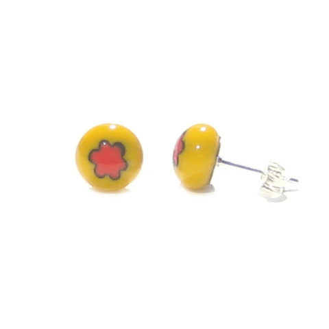 Murano Millefiori Yellow Red Flower Sterling Silver Post Earrings, Studs