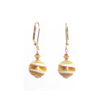 Murano Glass Yellow Topaz Ball Gold Earrings JKC Murano