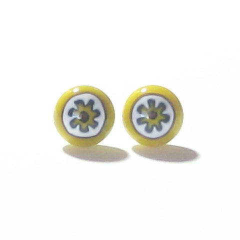 Millefiori Yellow White Flower Sterling Silver Post Stud Earrings - JKC Murano
