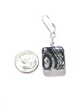 Murano Glass Zebra Sparkle Black Square Leverback Silver Earrings JKC Murano