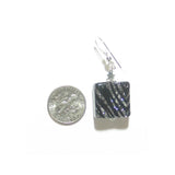 Murano Glass Zebra Sparkle Black Square Leverback Silver Earrings - JKC Murano