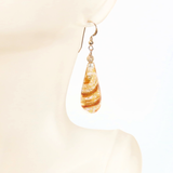 Murano Glass Topaz Swirl Teardrop Long Gold Earrings - JKC Murano