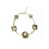 Genuine Murano Glass Brown Green Gold Bracelet - JKC Murano