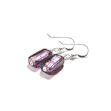 Murano Glass Amethyst Rectangle Silver Earrings, Leverback Earrings - JKC Murano