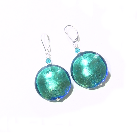 Murano Glass Aqua Green Disc Large Sterling Silver Earrings - JKC Murano
