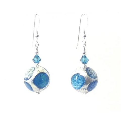 Murano Glass Aqua Blue Dot Ball Silver Earrings - JKC Murano
