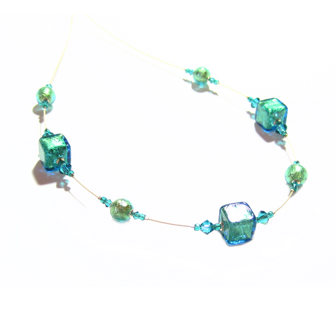Murano Glass Aqua Cube Gold Necklace, Illusion Necklace