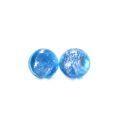 Murano Glass Aqua Blue Silver Dichroic Button Earrings, Stud Earrings - JKC Murano