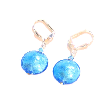 Murano Glass Aqua Disc Sterling Silver Earrings - JKC Murano