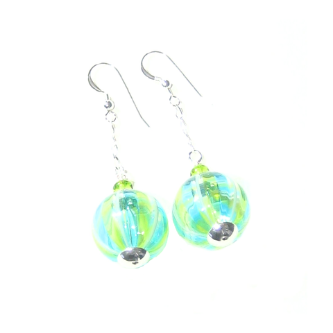 Murano Blown Glass Green Aqua Long Ball Earrings - JKC Murano