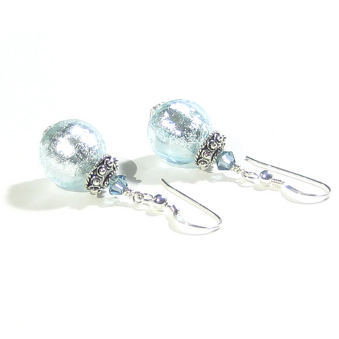 Murano Glass Aquamarine Ball Sterling Silver Earrings - JKC Murano