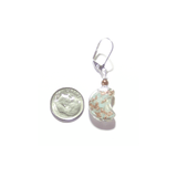 Murano Glass Aquamarine Copper Moon Silver Earrings - JKC Murano