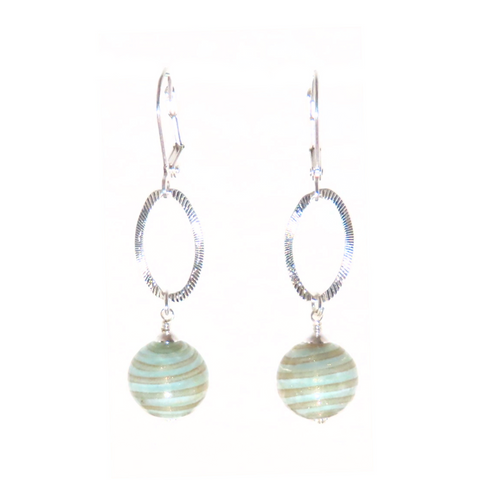 Murano Glass Aquamarine Copper Rings Long Silver Earrings - JKC Murano