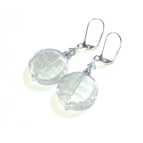 Murano Glass Large Lilac Coin Silver Earrings