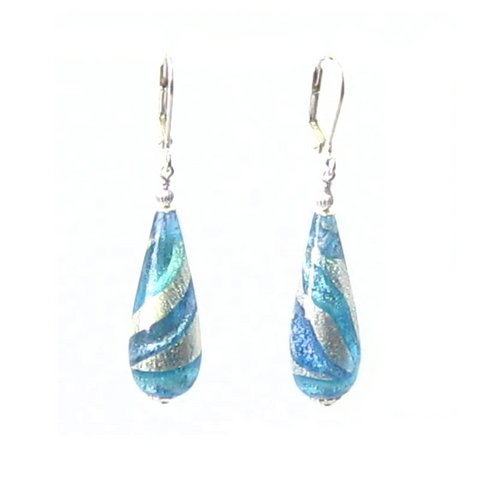 Murano Glass Aqua Blue Swirl Teardrop Sterling Silver Earrings - JKC Murano