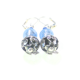 Murano Glass Light Blue Wire Ball Sterling Silver Earrings - JKC Murano