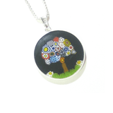 Murano Glass Black Millefiori Tree of Life Pendant - JKC Murano