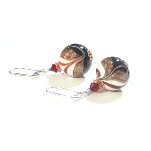 Italian Glass Black White Red Copper Silver Earrings by JKC Murano