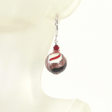 Italian Glass Black White Red Copper Silver Earrings by JKC Murano - JKC Murano