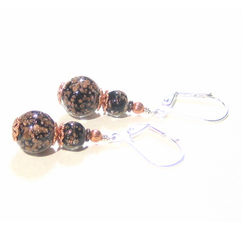 Murano Glass Black Copper Ball Sterling Silver Earrings - JKC Murano